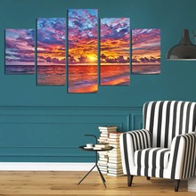 Fire cloud sky canvas wall art abstract print home decor for living room pictures 5 panel large poster HD printed(China)