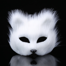New Arrival Lady's White Fox Mask For Halloween Prop Costume Women White Feather Mask Free Shipping(China)