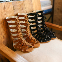 2018 Little girls gladiator sandals boots scrub leather summer brown black high-top fashion roman kid sandals toddler baby shoes(China)