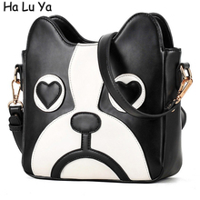 2017 Dog min Bag Heart Satchel Shoulder Bags Chian Women Bags Female Cartoon fashion Handbags Cheap Leather Handbag