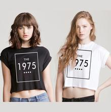 Women Summer Crop Top THE 1975 Letter Print Short tshirt Sexy Slim Funny Top Tee Hipster Black White BZ203-14(China)