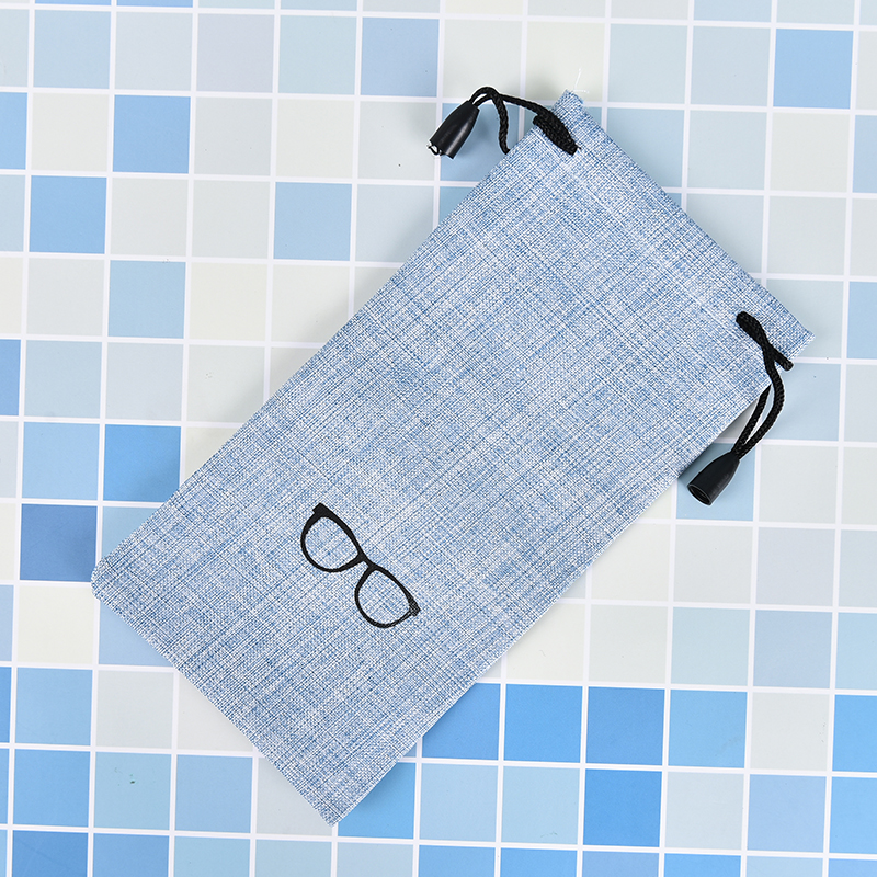 Linen Fabric Sunglasses Pouch 4 Colors Portable For Eyewear Smooth Surface Container Glasses Bag