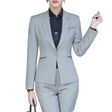 Buy Fashion women pants suits spring formal Business gray long sleeve slim blazer trousers office ladies plus size work wear for $43.50 in AliExpress store