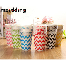 MEIDDING 10pcs Disposable Chevron Paper Cup Drinking Cups Wedding Decor Hawaii Party Supplies Paper Cup Supplies Picnic Favors