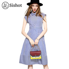Sishot women dresses cotton brief 2017 summer casual mid calf blue stripes a line girl pocket polo neck mid waist office dress