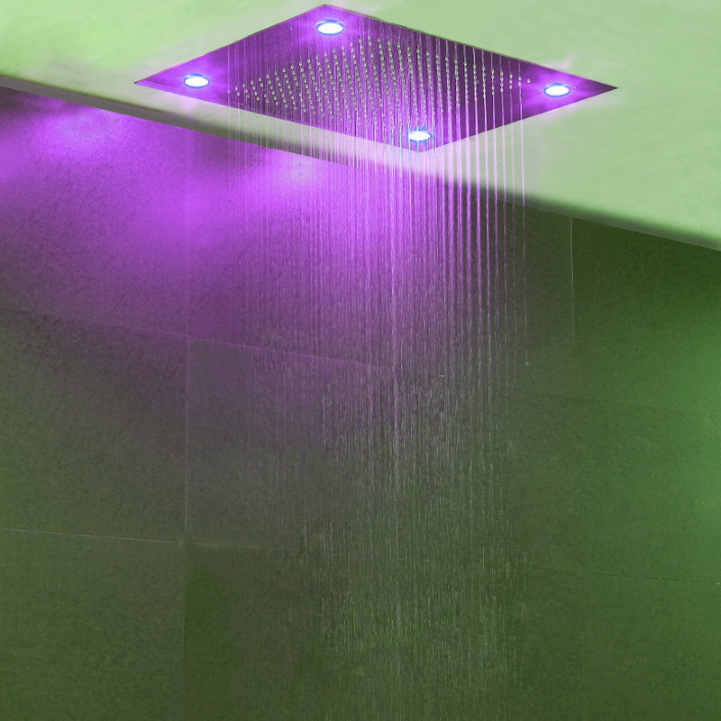 Bathroom Accessorise Shower Head Ceiling LED Light Big Rainfall Bath Shower Panel Faucet Polished 304 Stainless Steel Top Enjoy 4