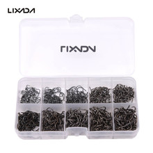 Lixada 600Pcs Fishing Hooks Barb Jig Hook With Hole Carbon Steel Carp Fishhooks Set Fly Fishing Tackle Box 3#-12# 10 Size Pesca(China)