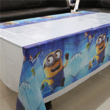 1pcs minions plastic disposable tablecover 108*180cm party tablecloth/map for kids happy birthday party decoration supplies