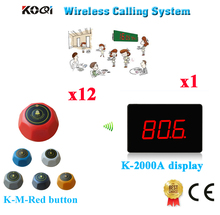 Wireless Restaurant Calling System Ycall Brand Long Range Distance Wireless Call Pager Equipment(1 display+12 call button)(China)