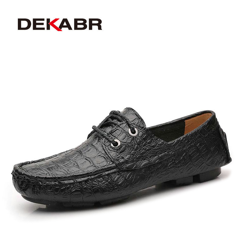 DEKABR Brand Unisex Flats Genuine Leather Summer Fashion Crocodile Style Footwear Handmade Casual Moccasins For Man Shoes Unisex<br>