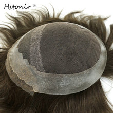 Hstonir Mens Toupee French Lace Frontal Pu Back Men Wig Hair Replacement System Stock H031(China)