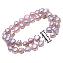 YYW Freshwater Cultured Pearl Bracelet Hot Style 2-strand Multilayer Natural Real White Pink Purple Baroque Pearl Bracelets