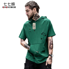 2017 High Street Fashion Hole Ripped Hip Hop Mens Hooded T-shirts Short Sleeve Pullover Loose Army Green Solid Tee Shirt Homme
