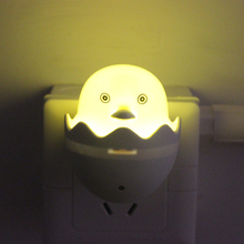 Wall Socket Lamps US EU Plug LED Night Light AC 110-220V Light Control Sensor Yellow Duck Bedroom Lamp Gift for Children Cute