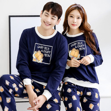 Big Yards Couples Pajamas Autumn Pajamas Leisure Suit Cotton Cartoon Printing Long-Sleeved Tracksuit Men Spring Pyjamas Women
