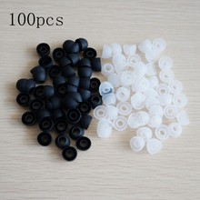 100pcs/50 pairs White/Black Replacement Earbud Tips Soft Silicon Cover For Samsung In-Ear Headphones Earphones Accessories