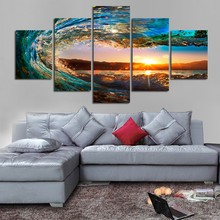 5 Panels Ocean Poster Modern Seascape Painting Canvas Art Sea wave Landscape Wall Picture For Bed Room Oil Painting On The Wall