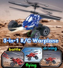RC Radio Remote Control Toys Car Flying Truck & Helicopter Chariot 3.5CH Warplane with Gyro Missile Bullet UDI U821 3-in-1