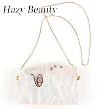 Hazy beauty newlady face design women shell looking clutch easy chic modern madam love shoulder bag hot sell party bag A233(China)