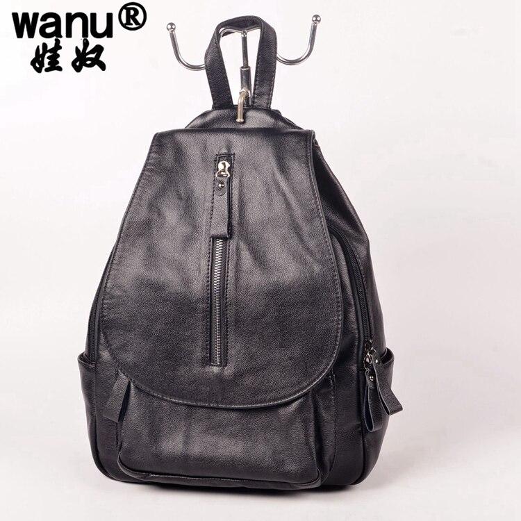 WANU New 2016 Genuine Leather Backpacks Women Bags Ladies Brand Backpack Preppy Style Vintage school Bag womens backpack girl<br>