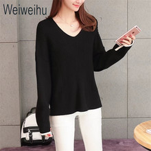 Weiweihu 2017 Women Sweaters and Pullovers Casual Ladies Christmas Sweater Solid Black O-Neck Female Jumpers Loose Style Tops