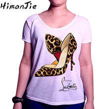 Women T-shirts High Heels Leopard Pattern Letter Print Tshirts Female Summer Plus Size Brand Design Casual O Neck White Tee Tops