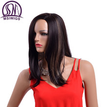 MSIWIGS 18 Inches Two Colors Synthetic Wigs for Women Natural Ombre Black Wig with Highlights High Temperature Fiber