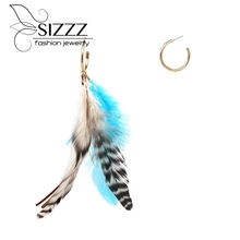 SIZZZ 17.5CM High/3CM Wide Feather Earrings Bohemian National Style Earrings European And American Drop Earrings For Women(China)