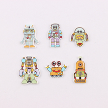 2 Holes Mixed Wooden Button Mulity Robots Pattern Scrapbook Craft Buttons Mix 50pcs Garment Botoes Accessories(China)