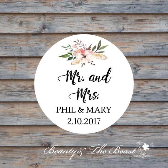 Personalized Mr Mrs Wedding Bottle Stickercupcake Topperswedding