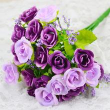 Home Decoration Artificial Flowers Rose Silk Flowers 7 Flower Head Leaf Wedding Bridal Hydrangea Decor DIY Whosesale