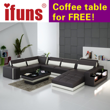 IFUNS luxury sofa sets u shaped top grain italian real leather sofa set living room furniture