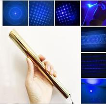 Professional Powerful Full Brass blue laser pointers 80000mw 80w 450nm camping signal lamp burn cigar cutting paper+5 caps+box