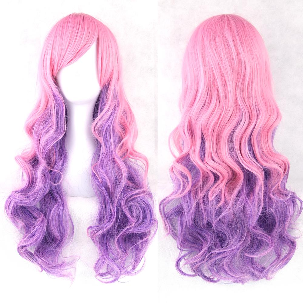 Pink Purple Women Heat Resistant Hair Wig Colorful Wavy Cosplay Wigs Synthetic Hair Full Wig<br><br>Aliexpress