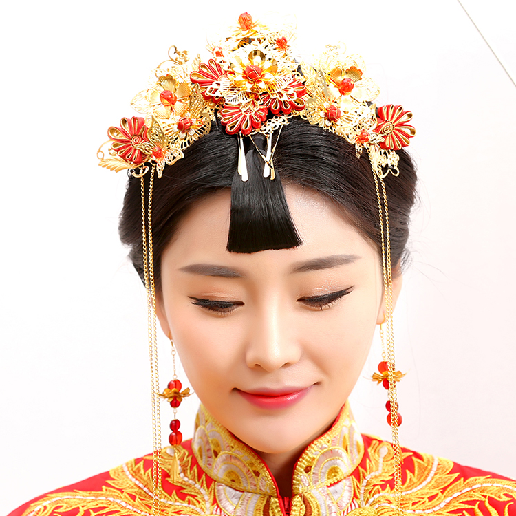 Guan Zhui Traditional Chinese Wedding Bride Hair Tiaras for Xiuhefu Hair Accessory Set for Costume<br>