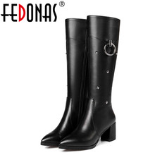 Buy FEDONAS High Buckle Sexy High Heels Winter Warm Snow Boots Genuine Leather Fashion Women Knee High Boots Shoes Woman for $63.70 in AliExpress store