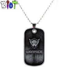 STG online game Warface logo Round bead chain choker necklace metal Dog tag Pendant Necklaces Game accessories jewelry for fans