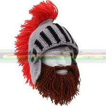 BomHCS Red Tassel Cosplay Roman Knight Knit Helmet Men's Caps Original Barbarian Handmade Winter Warm Beard Hats Funny Beanies