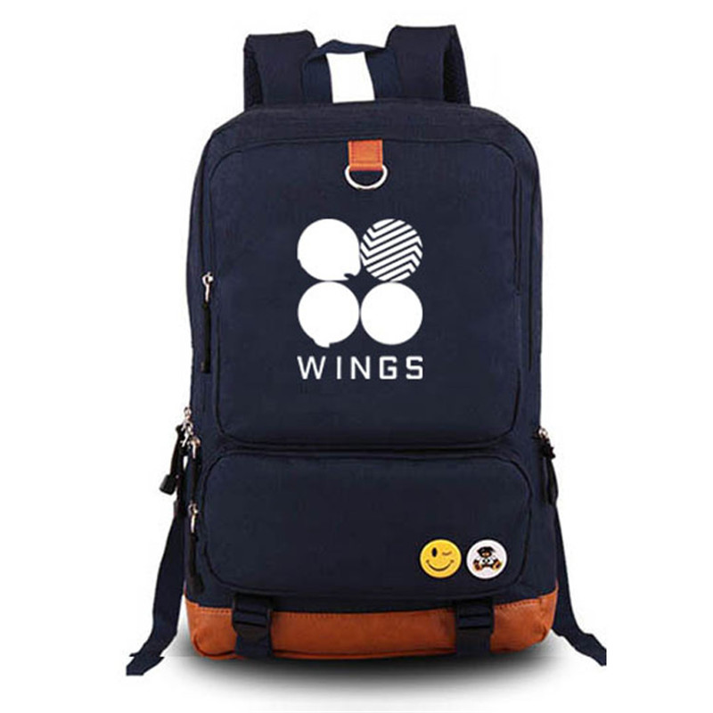 High Quality Canvas Printing Backpack BTS Hip Pop WINGS Design Mochila Feminina School Backpacks for Teenage Girls Laptop Bags<br>