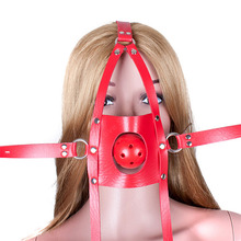 Buy PU Leather Head Harness Hollow Breathable Mouth Ball Gag Adult Game Slave Bdsm Fetish Bondage Restraints Sex Toys Couples