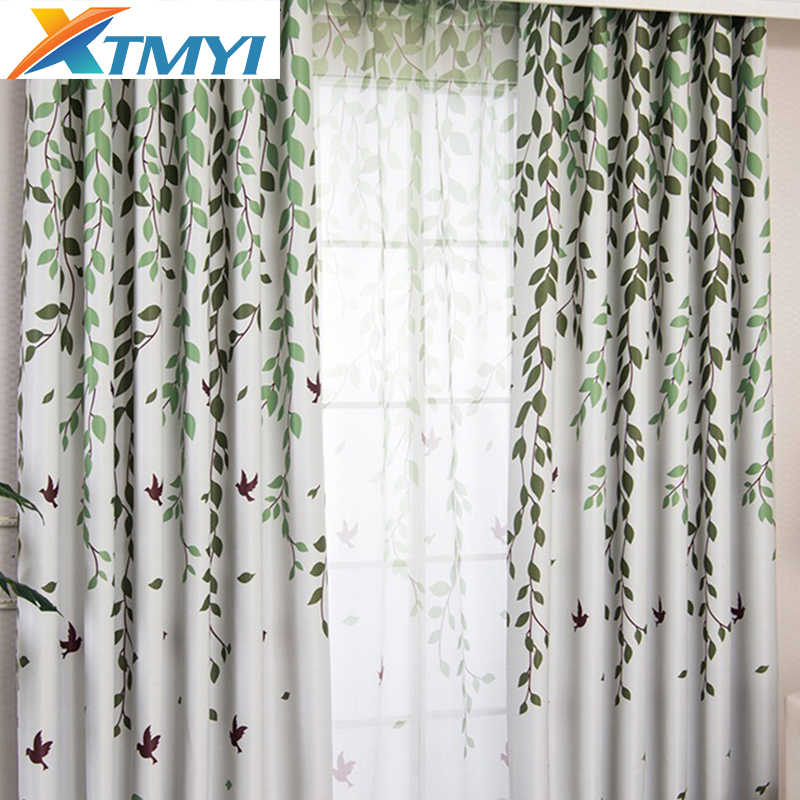 Green branches Colorful Bird Blackout Curtains for Living Room Children Kids' Bedroom