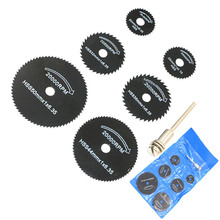 7pcs/Set 6.35mm HSS Rotary Tool 22/25/32/35/44/50mm Circular Saw Blade Woodworking Cutting Disc Cut Off Wheel For wood, copper
