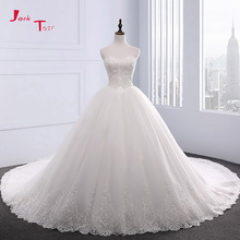 Buy Jark Tozr New Special Sweetheart Neck Lace Chapel Train Beaded Appliques Gorgeous Ball Gown Wedding Dresses 2018 Gelinlik for $239.98 in AliExpress store
