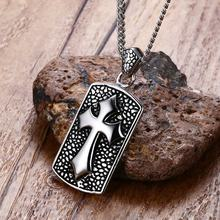 Solid Antiqued Cross Dog Tag Pendant Necklace for Men Catholic Stainless Steel Jewellery Male Vintage Jewelry 24 inch(China)