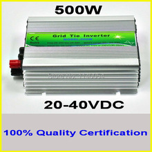 500W 20-40VDC Grid tie inverter for 24V 48cells or 30V 60cells PV Panel, 90-260VAC Full Voltage Output MPPT Solar Inverter 500W(China)