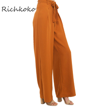 Richkoko Apparel Autumn Orange Empire Waist Wide Leg Pant Elegant Comfort Lace-up Trousers Loose Casual Drawstring Pleated Pants(China)