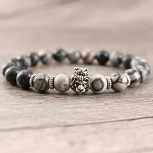 Black Rock Stripe Beads Stretch Men Natural Stone Bracelet Antique Silver Plated Lion Head Handmade Energy Jewelry