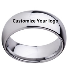 Custom Name Wedding Anniversary Date Logos Jewelry 8mm Black/ Silver/Black Rose Gold Tungsten Rings Personalize Your Style(China)