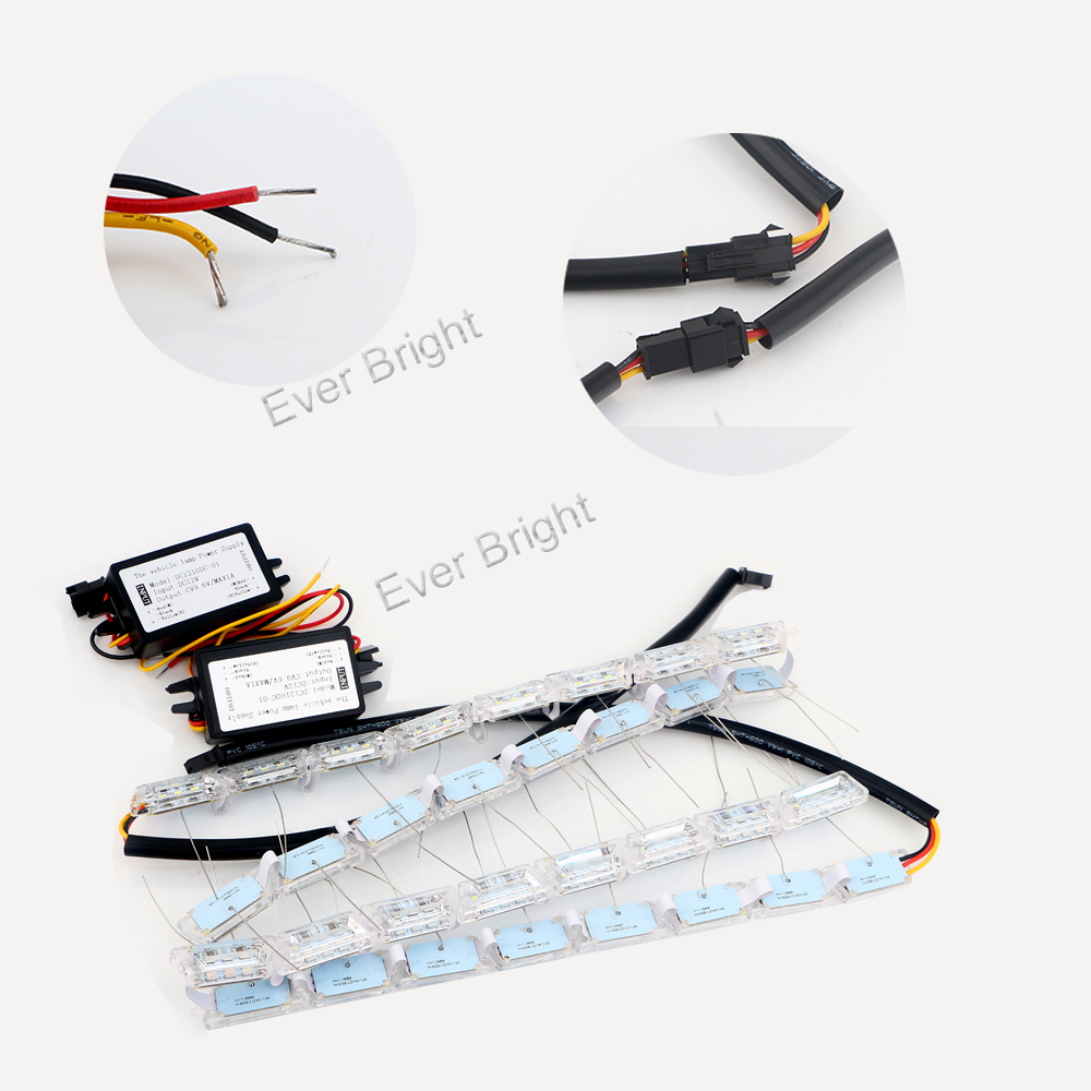 NEW!!! 1Set 12V 8S Crystal Tear Lamp White/Amber Switchback Long Bright Daytime Running Driving Bulb Waterproof Flexible Strip <br><br>Aliexpress