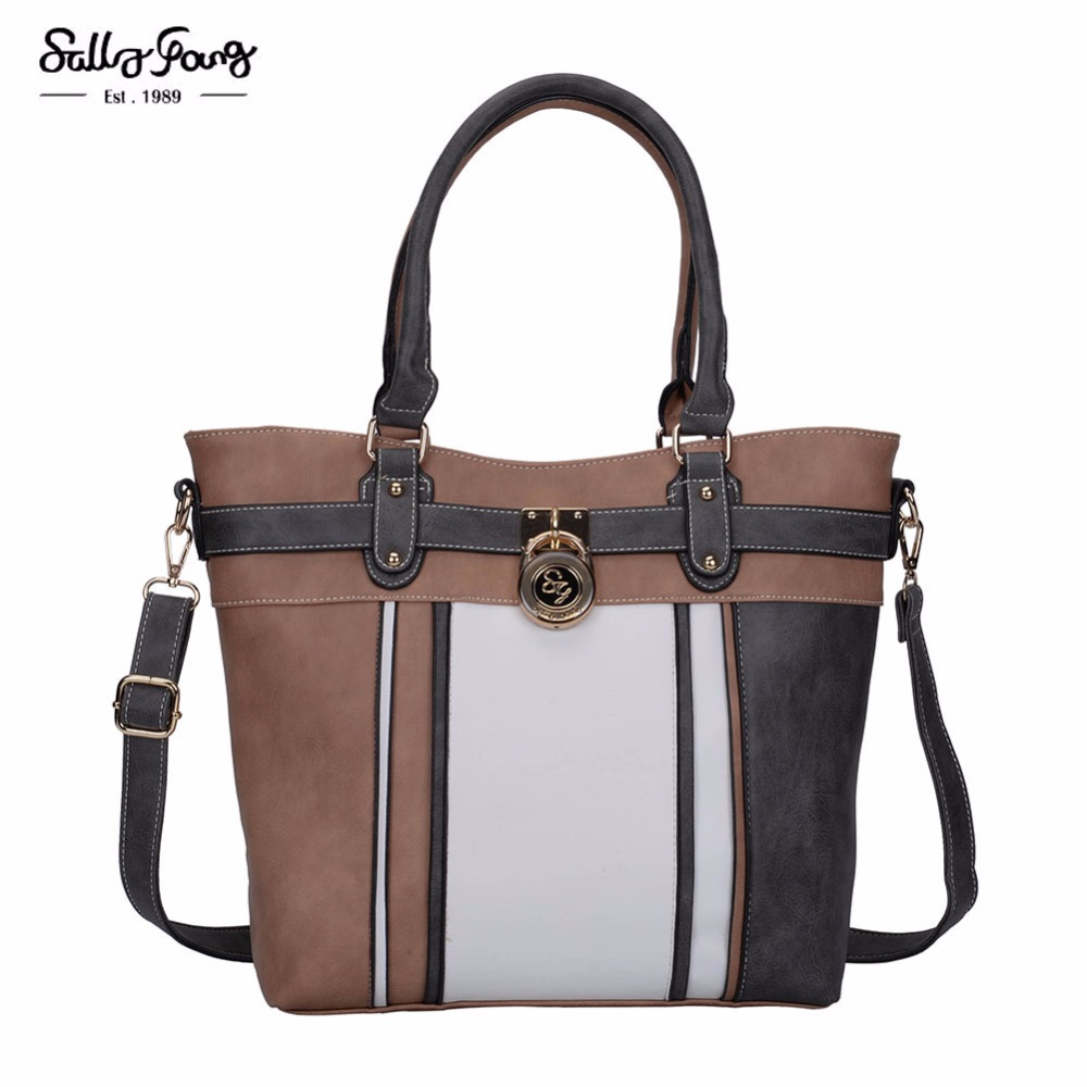 Sally Young International Brand Classic Vintage Patchwork Lady Shoulder Handbags  lock Decoration Women Bag SY5037<br>